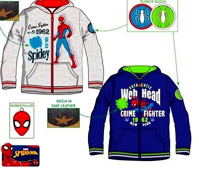 Kids Boys/Girls SPIDER MAN Disney Hero Character Hooded Sweat Jumper Zipped Tops