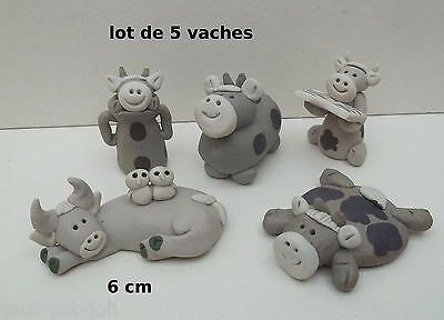 lot de vaches rigolotes en céramique, miniature de collection, koe, kow, B1-12
