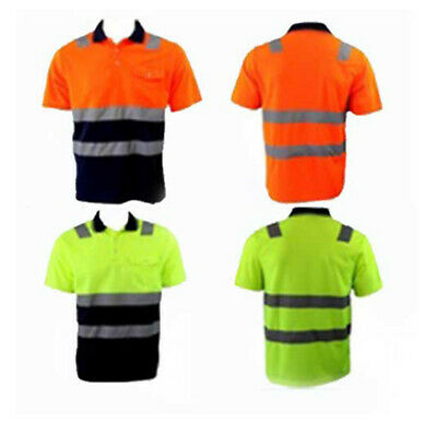 Hi-Vis Safety Workwear Short Sleeve Polo Shirt Top Reflective Tape Two tone