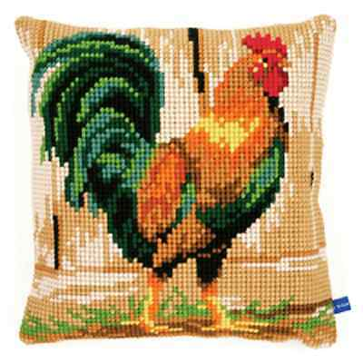 Rooster - Large Holed Tapestry Cushion Kit/Printed Chunky Cross Stitch