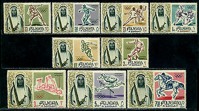 Fujeira 1964 Tokyo Olympics,Fencing,Boxing,Football,Horse Riding,Discus,M.19,MNH
