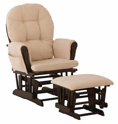 Stork Craft Hoop Glider and Ottoman Set, Espresso with Beige, New, Free Shipping