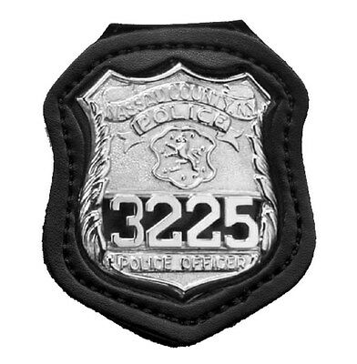 Aunthentic Desantis Black Leather NYPD Police Badge Holder With Spring Steel Cli