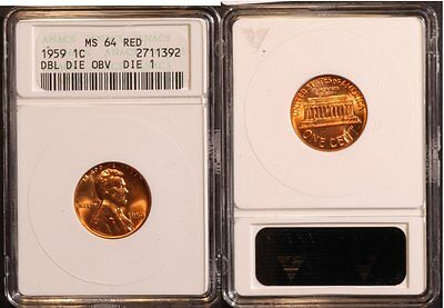 1959-P Lincoln Cent - Double Die , DDO-001   ANACS MS64  red