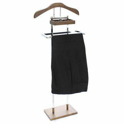 Chocolate Timber Clothes Valet Stand with Accessory Tray