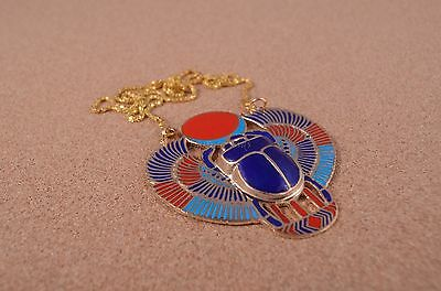Ethnic Egyptian Hand Made Brass Colored Enameled Scarab Necklace