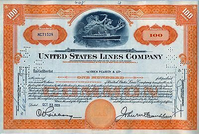 United States Lines Company Stock Certificate New Jersey Orange