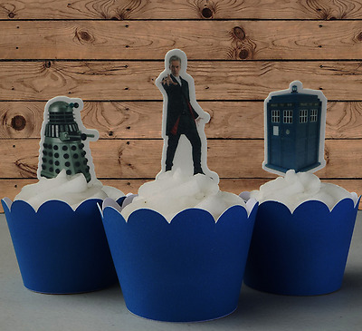 Dr Who EDIBLE wafer cupcake cake toppers STANDUP birthday