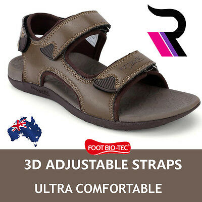Foot Bio-Tec Men Orthotic Sandals Arch Support Adjustable Strips Pain Relief