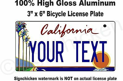"California Custom Personalized State License Plate -Bicycle 3"" x 6"" any text"
