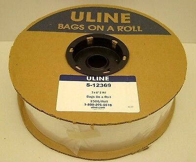 "Uline S-12369 3"" X 8"" Polybag 2 Mil 1500 Bags On A Roll Autobag Plastic New"