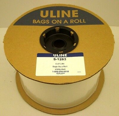 "Uline S-1263 6"" X 8"" Polybag 2 Mil 1500 Bags On A Roll Autobag Plastic New Usa"