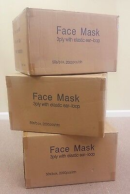 2,000 MASKS (1 case) Surgical Disposable 3-ply Earloop Face Masks Latex Free