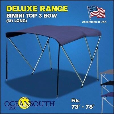 "BIMINI TOP 3 Bow Boat Cover Blue 73""-78"" Wide 6ft Long With Rear Poles"