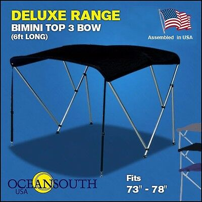 "BIMINI TOP 3 Bow Boat Cover Black 73""-78"" Wide 6ft Long With Rear Poles"