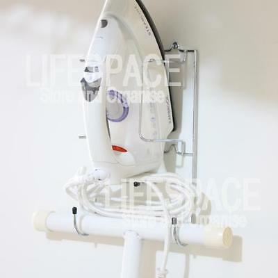 NEW Iron Mate Wire Chrome Wall Mount Iron Holder Ironing Board Caddy