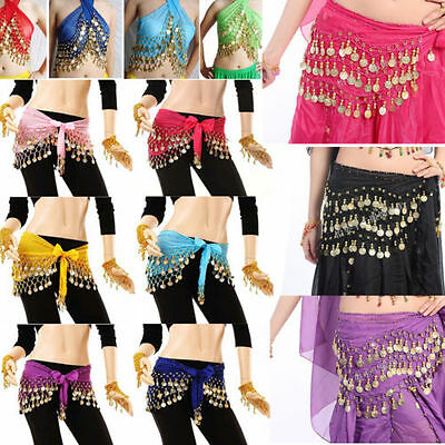 New Chiffon Belly Dance Hip Scarf 3 Rows silver / golden Coin Belt Skirt