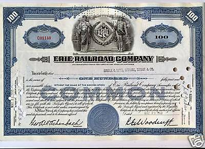 Erie Railroad Company Stock Certificate Blue Pennsylvania RR Norfolk Southern