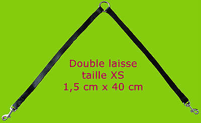 DOUBLE LAISSE EXTENSION RALLONGE CHIEN CHAT 1,5cm & 2x40cm sangle harnais