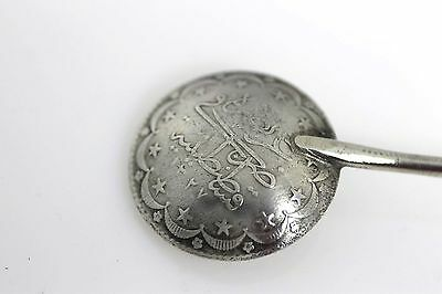 Antique Islamic sterling silver 900 large Coin spoon hand made Ottoman Empire