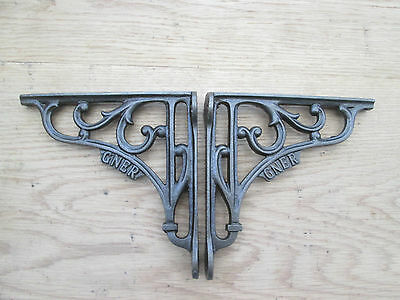 "6"" PAIR GNER RAILWAY antique Vintage style cast iron shelf bracket wall mounted"