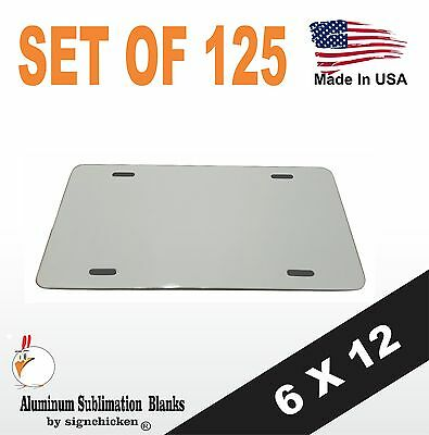 """125 Pieces ALUMINUM LICENSE PLATE SUBLIMATION BLANKS 6""""x12"""" / NEW BEST QUALITY"""