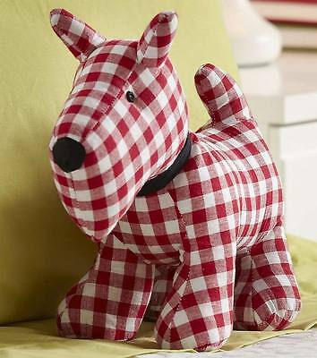 """Simon's~15"""" RED AND WHITE GINGHAM STUFFED DOG TERRIER SCOTTIE WESTIE PILLOW~nwt"""