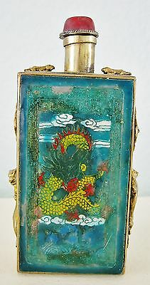 Paneled Brass Chinese Snuff Bottle w/ Spoon-Dimensional Metal Appliques-Signed