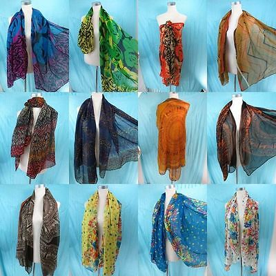 *US SELLER*lot of 5   bohemian vintage inspired oblong scarf pareo sarong wrap