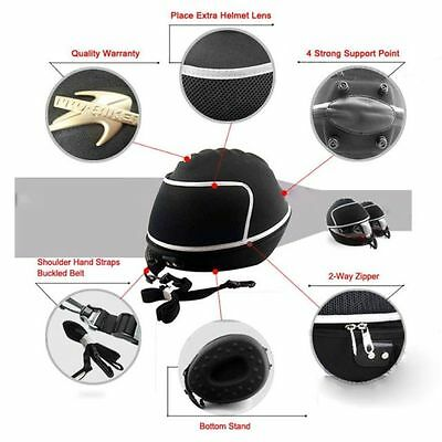 New Black Motorcycle Bike Karting Crash Helmet Bag Carrier Shell Rucksack Free