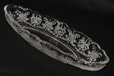 "PERFECT Vintage Heisey ""ORCHID"" Etched Celery Dish!!"
