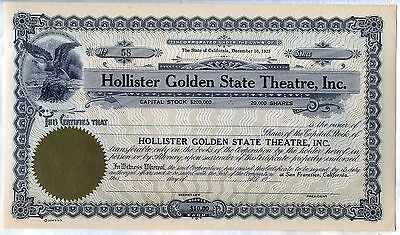Hollister Golden State Theatre, Inc. Stock Certificate San Francisco California