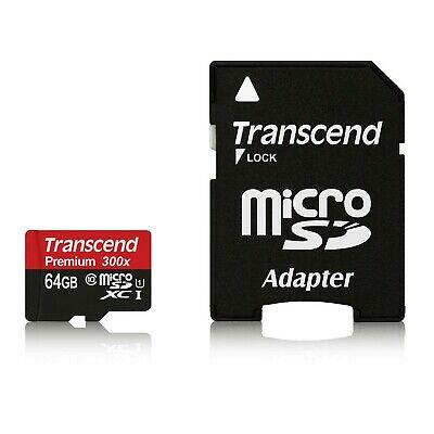 Transcend 64GB micro SDXC SD 45MB/s Class 10 UHS-I 300x U1 Memory Card w adapter