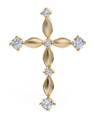 noble 18K Yellow GOLD filled zircon gemstone cross NECKLACE Pendant