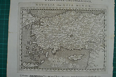 Turkey Cyprus 1598 Ptolemy/Magini Rare Antique Orig.  Copper Engraved Map