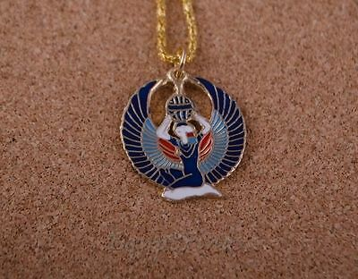 Egyptian Hand Made Blue Brass Enameled Winged Isis Necklace