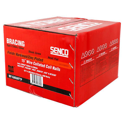 Senco Bracing 15D Wire Collated Coil Nails Flat Head Screw Shank 2.5x35mm 600pc