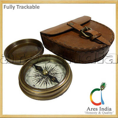 Antique Vintage Style Brass Pocket Compass W Leather Case Pouch Campaigning