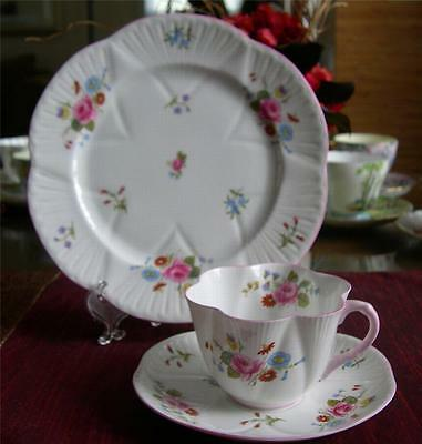 SHELLEY Fine Bone China  ** ROSE and RED DAISY ** TRIO