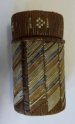Very Early 19Th Century Micmac Quill-Work Decorated Birch Bark Cigar Case