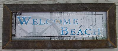 """BEACH- """"WELCOME TO THE BEACH"""" by DEE DEE - Print Framed in Rustic Wood"""