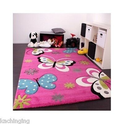 Butterfly Rug Nursery Girls Children Playroom Princess Pink Bedroom  Carpet Kids