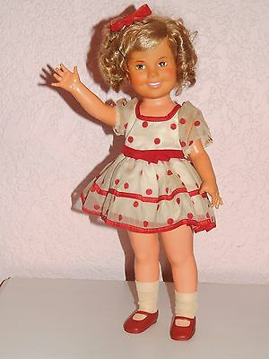 """1972 Ideal Shirley Temple 16"""" Vinyl Doll Stand Up & Cheer Dress Vintage"""