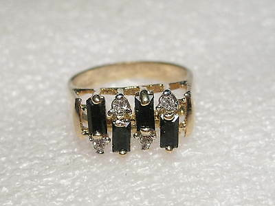 Vintage but current Goldtone Black Glass Baguette & CZ Ring, 18kt GEP, sz. 8