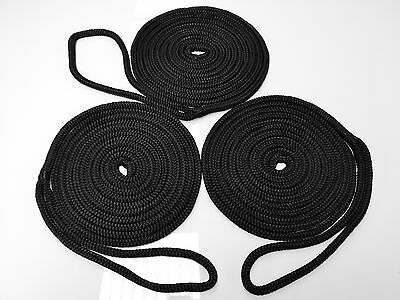 3 x 4.6m x 10mm Mooring Lines,Dock Lines,Mooring Rope Silky Soft Black pack of 3