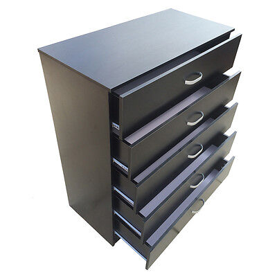 Chest of 5 Drawers Black White Beech Anti-Bowing Drawer Support Bedroom Redstone