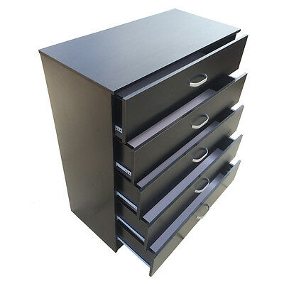 Redstone Wide Chest of 5 Drawers Black White Beech *Anti-Bowing Drawer Support*