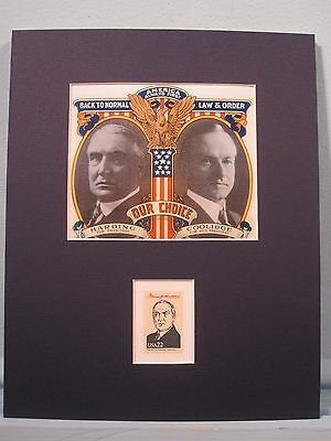 Warren G. Harding runs for President with Calvin Coolidge in 1920 & his  stamp
