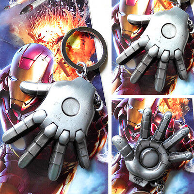 Marvel Iron Man The palm of the hand silver 8cm Metal Key chain ring New & Hot