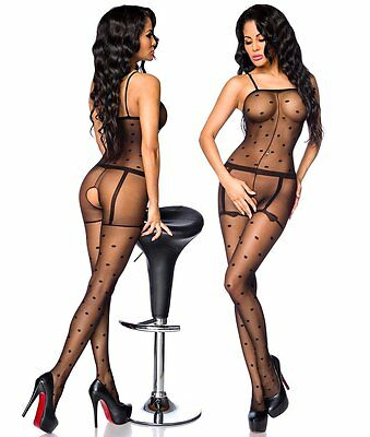 "Bodystocking ""Tanja"" Damenbody in schwarz Damen-Body Catsuit in Strapsoptik • EUR 19,90"
